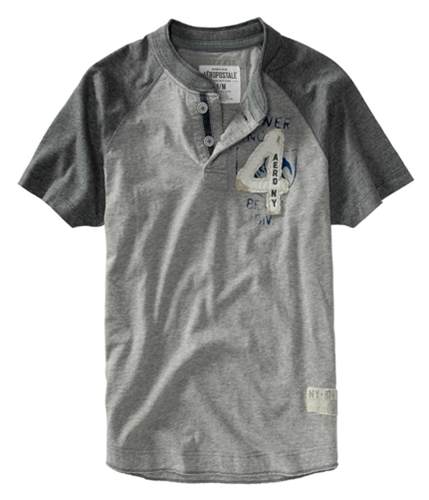 Aeropostale Mens Embroidered # 4 Henley Shirt lththrgray XS