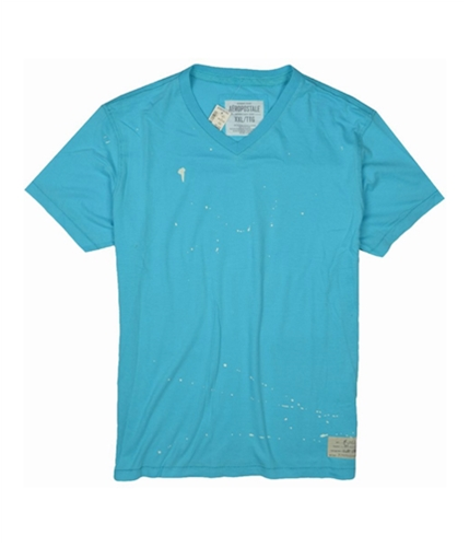 Aeropostale Mens Paint Slattered V-neck Graphic T-Shirt brightaqua 2XL