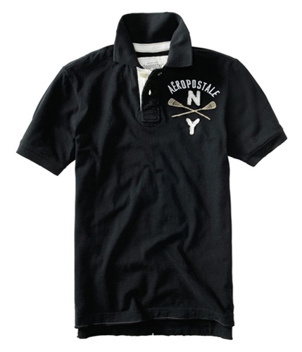 Aeropostale Mens Ny A87 Athletic Department Rugby Polo Shirt black XS