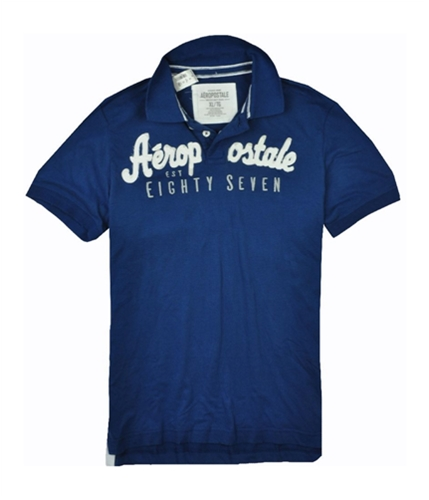 Aeropostale Mens Embroidered Eighty Seven Rugby Polo Shirt blues XL