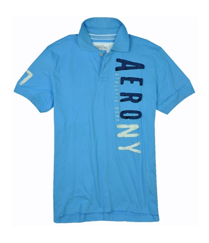 Aeropostale Mens Embroidered Aero Ny Rugby Polo Shirt sportyblue 2XL