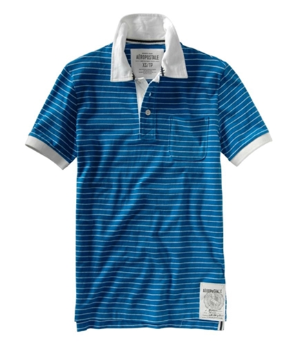 Aeropostale Mens White Stripe Rugby Polo Shirt tealbluein XS