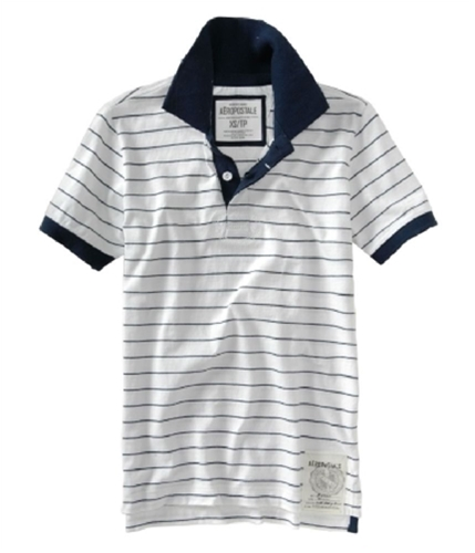 Aeropostale Mens Blue Stripe Rugby Polo Shirt bleachwhite XS