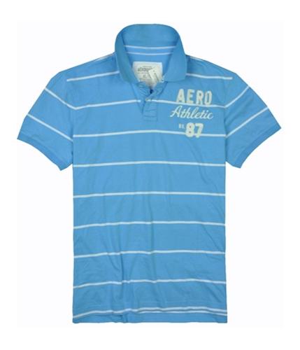 Aeropostale Mens Stripe Athletic 87 Rugby Polo Shirt sportyblue XL
