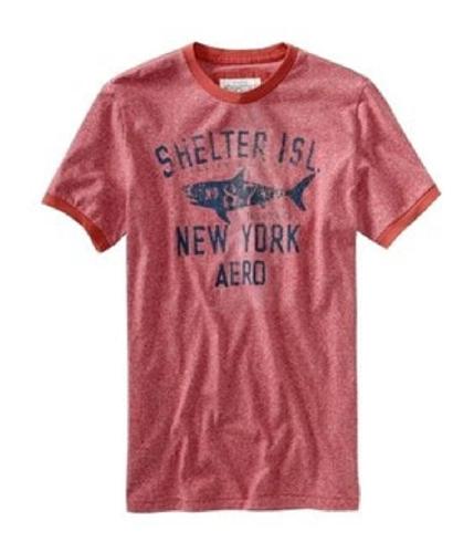 Aeropostale Mens Shelter Island Shark Graphic T-Shirt red 2XL