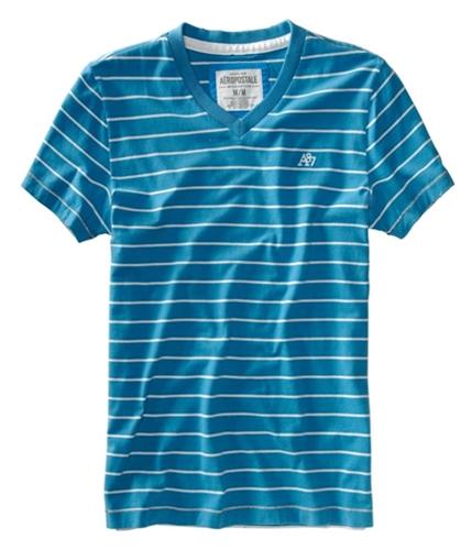 Aeropostale Mens V-neck Stripe A87 Logo Graphic T-Shirt bluesu XL
