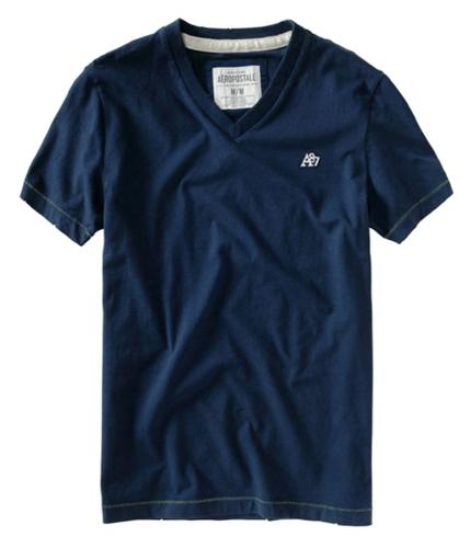 Aeropostale Mens V-neck Solid A87 Logo Graphic T-Shirt navyblue XS