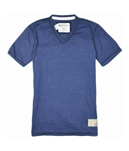 Aeropostale Mens Solid V-neck Graphic T-Shirt navyblue S