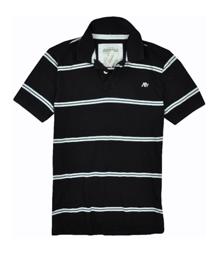 Aeropostale Mens Stripe A87 Logo Rugby Polo Shirt black M