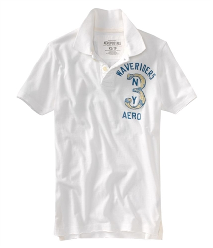 Aeropostale Mens Wave Rider Jersey Rugby Polo Shirt bleachwhite XS
