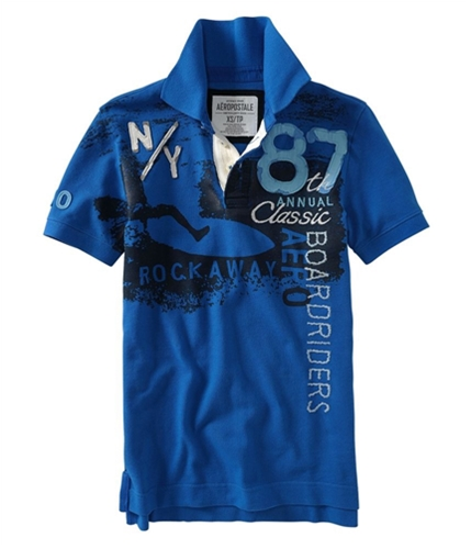 Aeropostale Mens 87 Classic Board Rugby Polo Shirt activeblue S