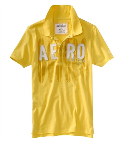 Aeropostale Mens Surf Rider Jersey Rugby Polo Shirt lemonzestyellow XS
