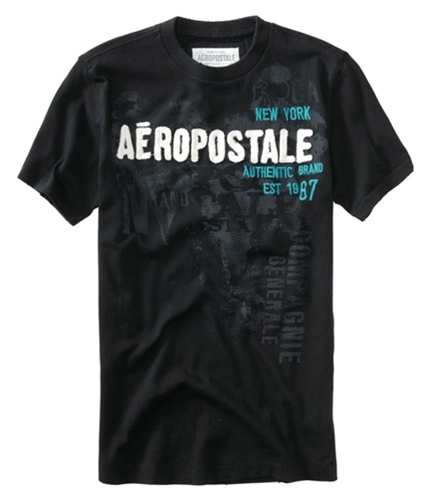 Aeropostale Mens Embroidered Authentic Brand Graphic T-Shirt black XS