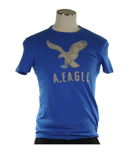 American Eagle Outfitters Mens Embroidered Logo Graphic T-Shirt blue XS
