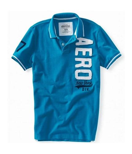 Aeropostale Mens Vertical Aero Rugby Polo Shirt teal M
