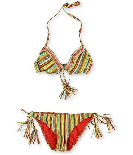 Lucky Brand Womens Santiago Beaded Side Tie 2 Piece Bikini srs S