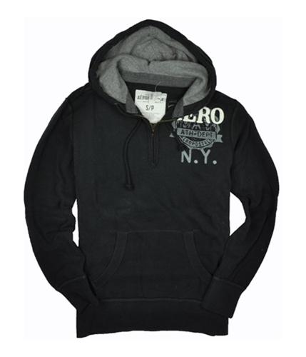 Aeropostale Mens Partial Zip Aero Hoodie Sweatshirt black S