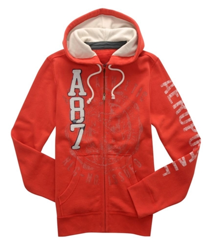 Aeropostale Mens A87 Zip Up Hoodie Sweatshirt citrusorange XS