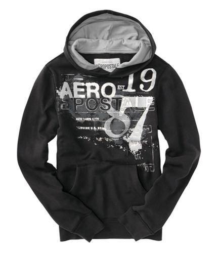 Aeropostale Mens Graphic 87 Hoodie Sweatshirt black XS