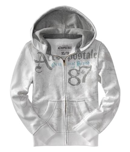 Aeropostale Mens Graphic Zip Up Hoodie Sweatshirt bleachwhite XS