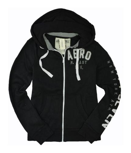 Aeropostale Mens Zip Up Hoodie Sweatshirt black XS