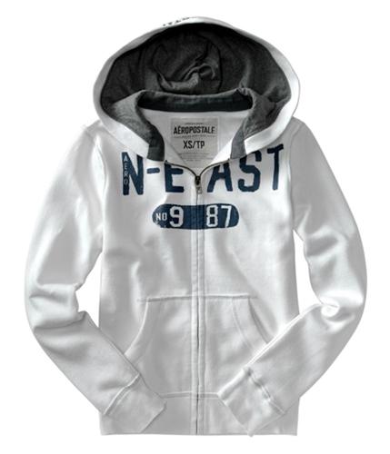Aeropostale Mens N-east Zip Up Hoodie Sweatshirt bleachwhite XS