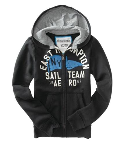 Aeropostale Mens Zip Up Sail Team Hoodie Sweatshirt black XS