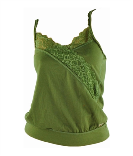 Hollister Womens Lace Halter Blouse Top green S