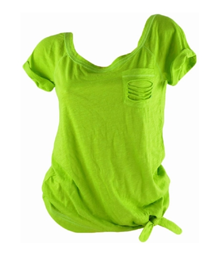 Hollister Womens Tattered Pocket Graphic T-Shirt green S