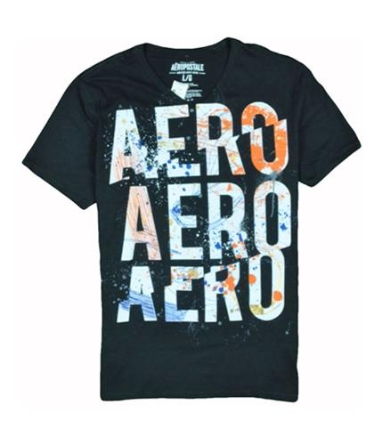 Aeropostale Mens V-neck Graphic T-Shirt black L