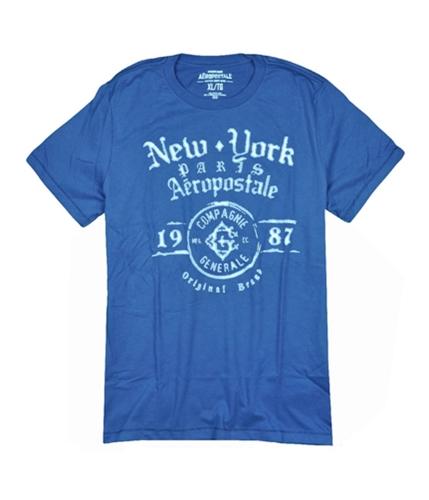 Aeropostale Mens Compagnie Generale Graphic T-Shirt bluedu XS
