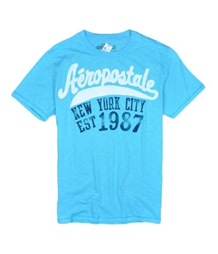 Aeropostale Mens New York City Graphic T-Shirt blueyellowaqua L