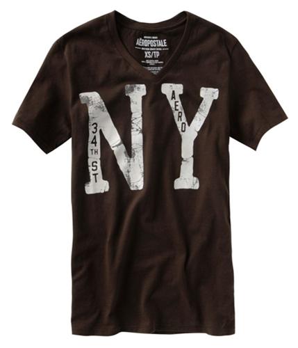 Aeropostale Mens Ny Aero V-neck Graphic T-Shirt harvestbrown XS