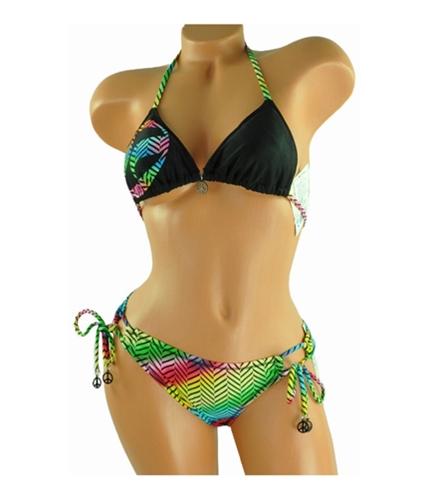 Split Womens Multi Zebra Stripe Side-tie 2 Piece Bikini black S