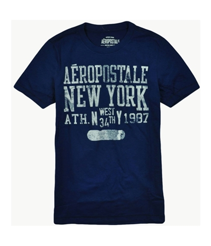 Aeropostale Mens West 34 Th T Graphic T-Shirt lapisblue XS