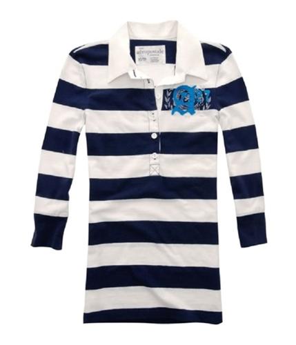 Aeropostale Womens A87 Henley Shirt navyblue S