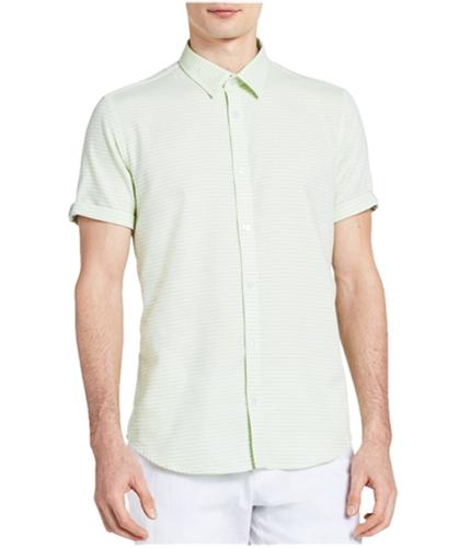Calvin Klein Mens Dobby Striped Button Up Shirt black L