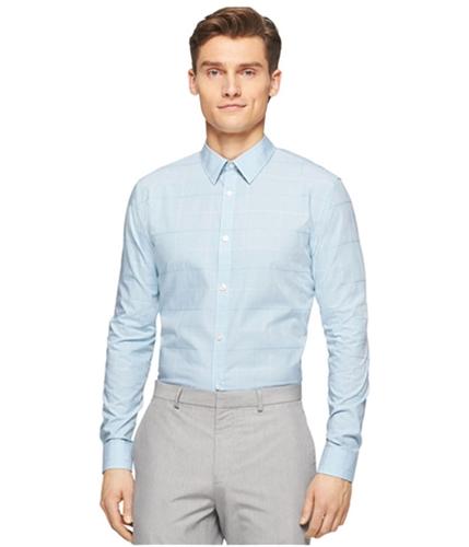 Calvin Klein Mens Fine Check Cord Button Up Shirt aquasplash S