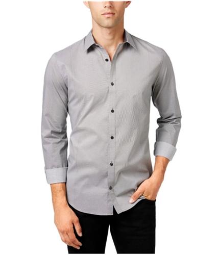 Calvin Klein Mens Geometric Button Up Shirt black M