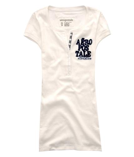 Aeropostale Womens Athletics Henley Shirt bleachwhite S