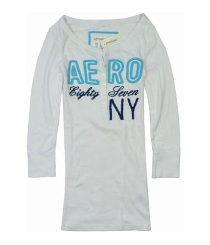 Aeropostale Womens Aero Stretch Henley Shirt bleachwhite S