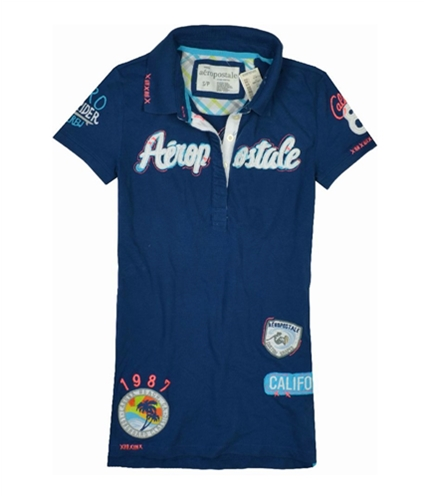 Aeropostale Womens California 87 Polo Shirt lunablue S