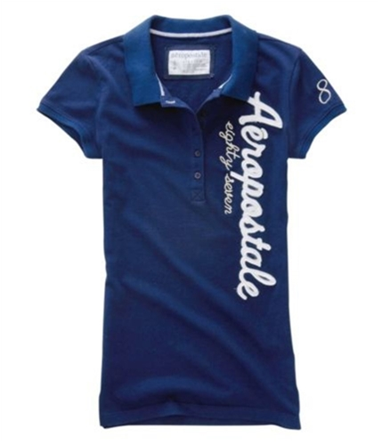Aeropostale Womens Embroidered Vertical Polo Shirt navyblue L