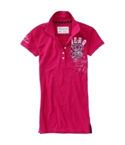 Aeropostale Womens Embroidered No 2 Polo Shirt veryberrypink S
