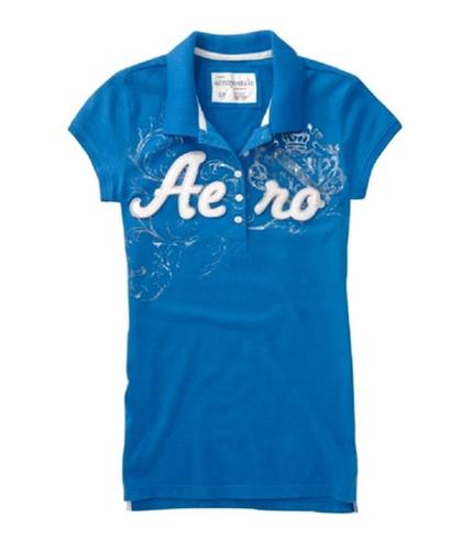 Aeropostale Womens Embroidered Aero Polo Shirt seablue XS