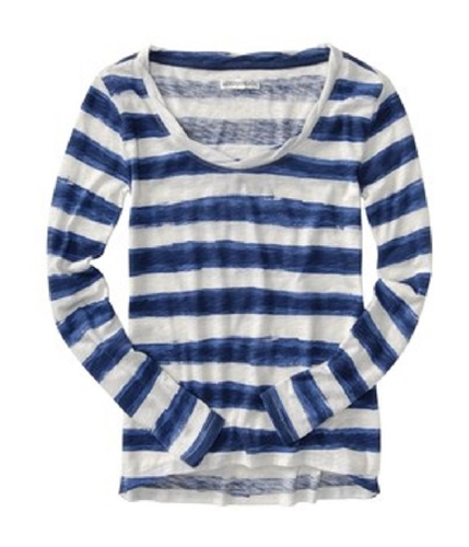 Aeropostale Womens Crew Stripe Graphic T-Shirt bluegr L