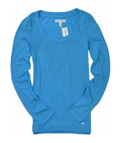 Aeropostale Womens Long Sleeve Solid Graphic T-Shirt bluemedium XS