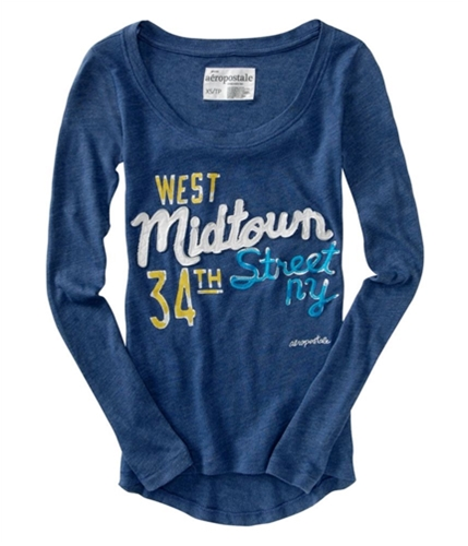Aeropostale Womens Midtown Embroidered Graphic T-Shirt steelblue L