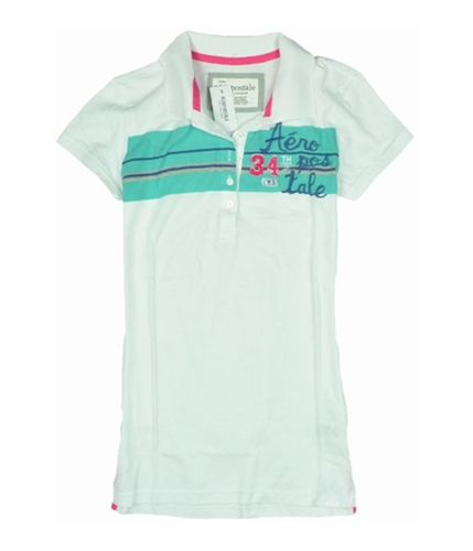 Aeropostale Womens Stripe 34th Polo Shirt bleachwhite S