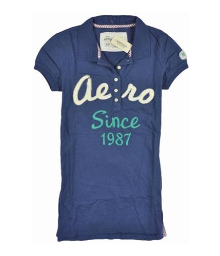 Aeropostale Womens Aero Since 87 Polo Shirt steelblue M